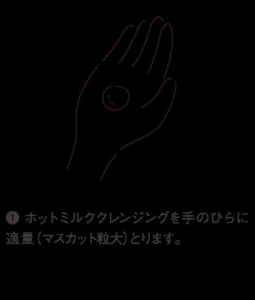 1. ホットミルククレンジングを手のひらに適量(マスカット粒大)とります。