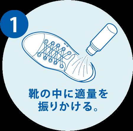 1. 靴の中に適量を振りかける。