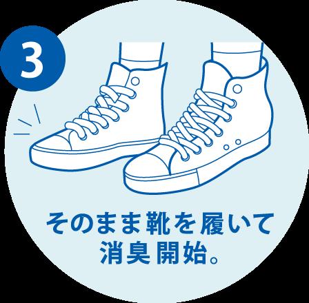 3. そのまま靴を履いて消臭開始。