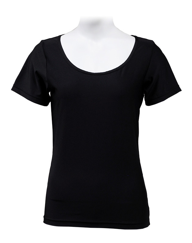 LADIES 半袖 Uネック インナーシャツ ブラック