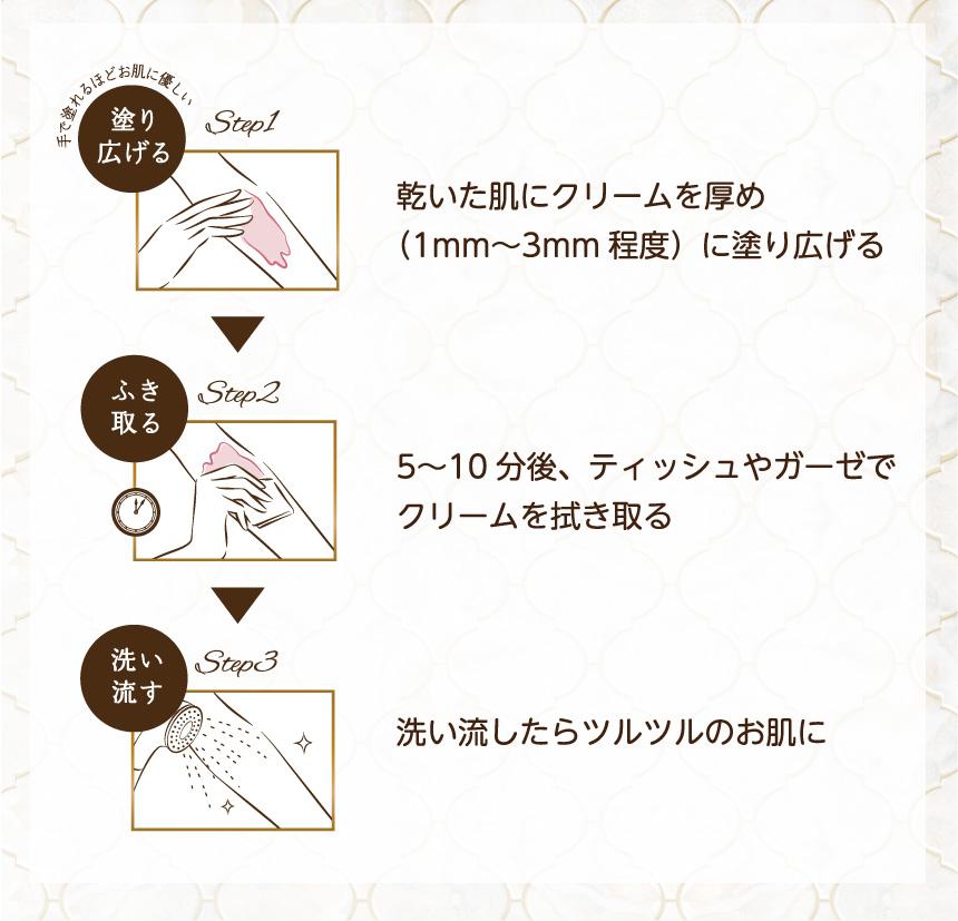 Step1 乾いた肌にクリームを厚め(1mm~3mm程度)に塗り広げる Step2 5~10分後、ティッシュやガーゼでクリームを拭き取る Step3 洗い流したらツルツルのお肌に